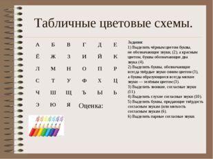 Табличные цветовые схемы. Задания: 1) Выделить чёрным цветом буквы, не обозна