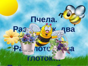 Пчела. Раз цветок, два цветок; Раз глоток, два глоток… Пчёлкина забота – Слад
