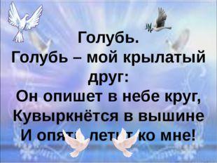 Голубь. Голубь – мой крылатый друг: Он опишет в небе круг, Кувыркнётся в выши