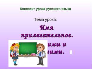 Конспект урока русского языка Тема урока: Имя прилагательное. Антонимы и сино