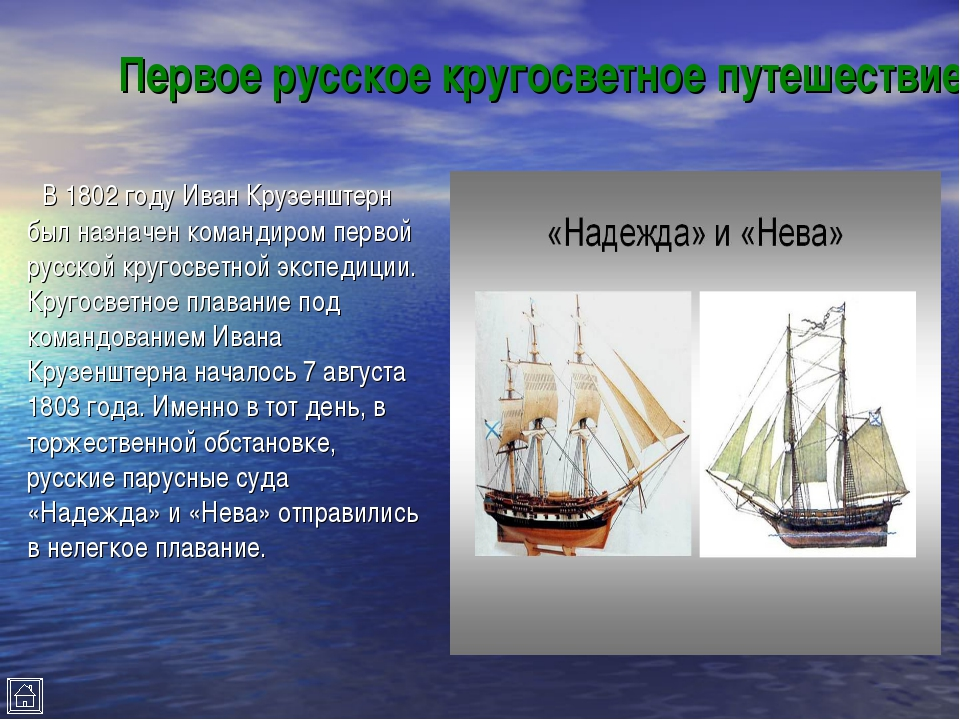 Первое русское кругосветное путешествие В 1802 году Иван Крузенштерн был назн...