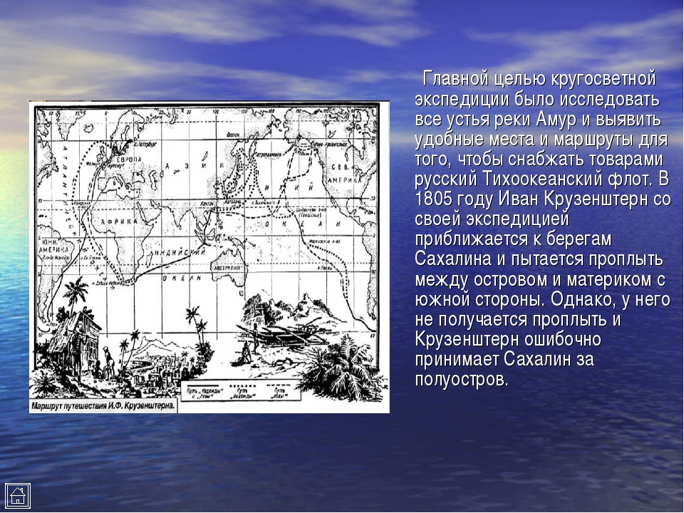 Главной целью кругосветной экспедиции было исследовать все устья реки Амур и...