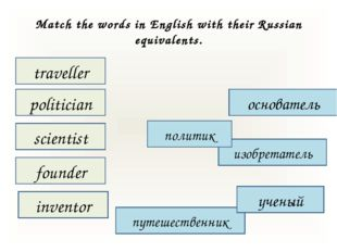 Match the words in English with their Russian equivalents. traveller inventor