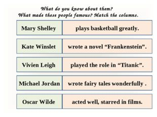 Mary Shelley Kate Winslet Oscar Wilde Vivien Leigh Michael Jordan plays baske