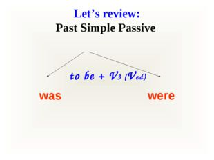 Let's review: Past Simple Passive to be + V3 (Ved) was were