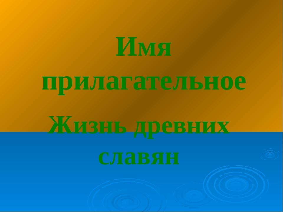 Имя прилагательное Жизнь древних славян