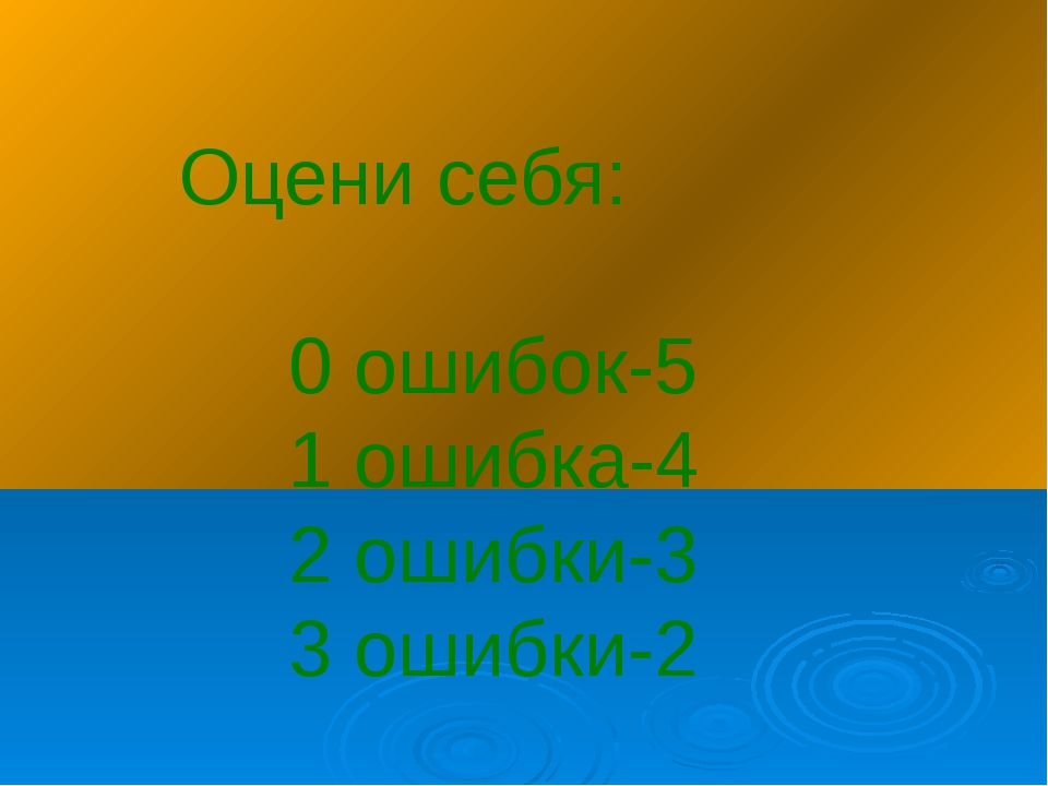 Оцени себя: 0 ошибок-5 1 ошибка-4 2 ошибки-3 3 ошибки-2