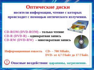 Оптические диски носители информации, чтение с которых происходит с помощью о