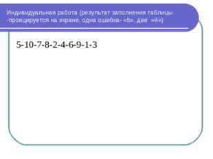 Индивидуальная работа (результат заполнения таблицы -проецируется на экране,