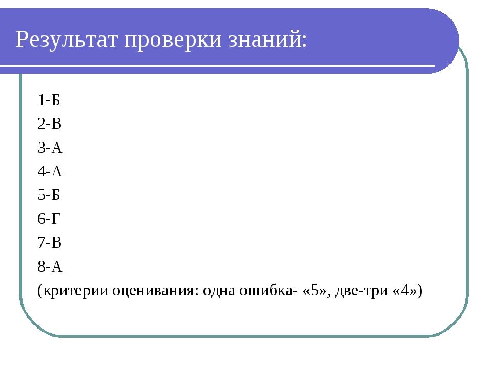 Результат проверки знаний: 1-Б 2-В 3-А 4-А 5-Б 6-Г 7-В 8-А (критерии оцениван...
