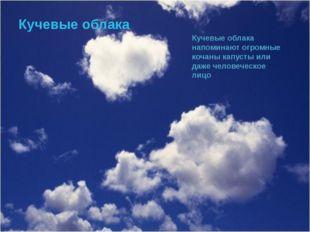 Кучевые облака Кучевые облака напоминают огромные кочаны капусты или даже чел