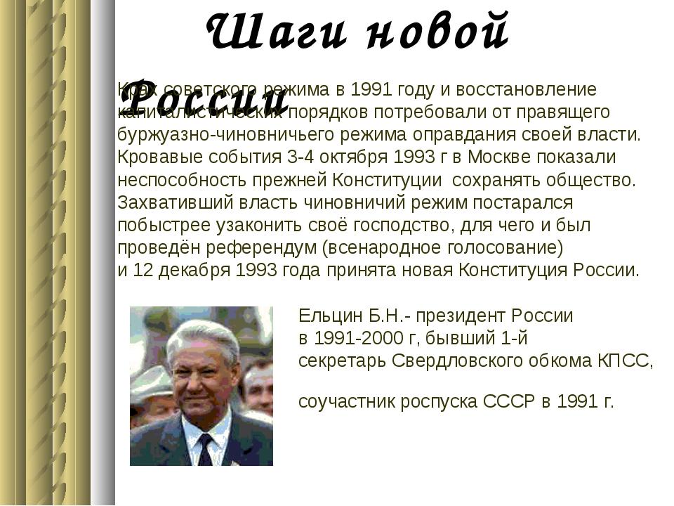Шаги новой России Крах советского режима в 1991 году и восстановление капита...