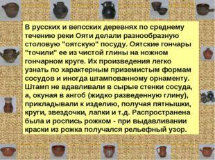 В русских и вепсских деревнях по среднему течению реки Ояти делали разнообраз