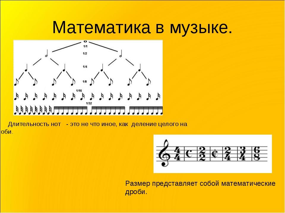 Математика в музыке. Длительность нот - это не что иное, как деление целого н...