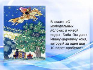 В сказке «О молодильных яблоках и живой воде» -Баба-Яга дает Ивану-царевичу к