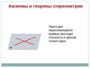 Аксиомы и теоремы стереометрии Через две пересекающиеся прямые проходит плос