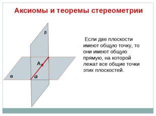 Аксиомы и теоремы стереометрии Если две плоскости имеют общую точку, то они и