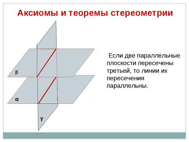 Аксиомы и теоремы стереометрии Если две параллельные плоскости пересечены тре...