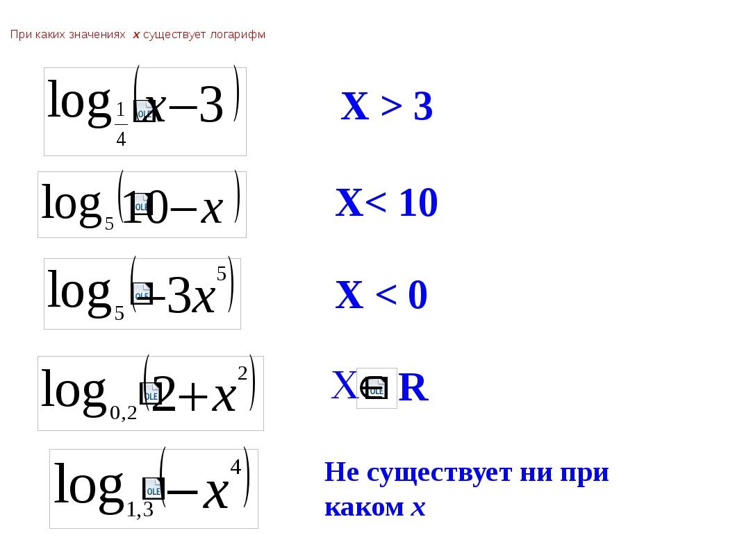 При каких значениях  х существует логарифм