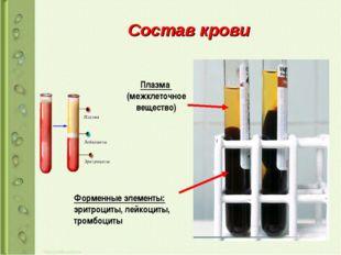 Состав крови Плазма (межклеточное вещество) Форменные элементы: эритроциты, л
