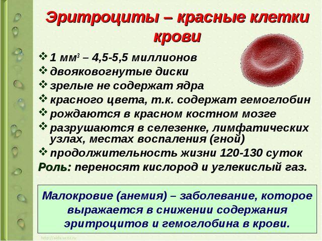 Эритроциты – красные клетки крови 1 мм3 – 4,5-5,5 миллионов двояковогнутые ди...