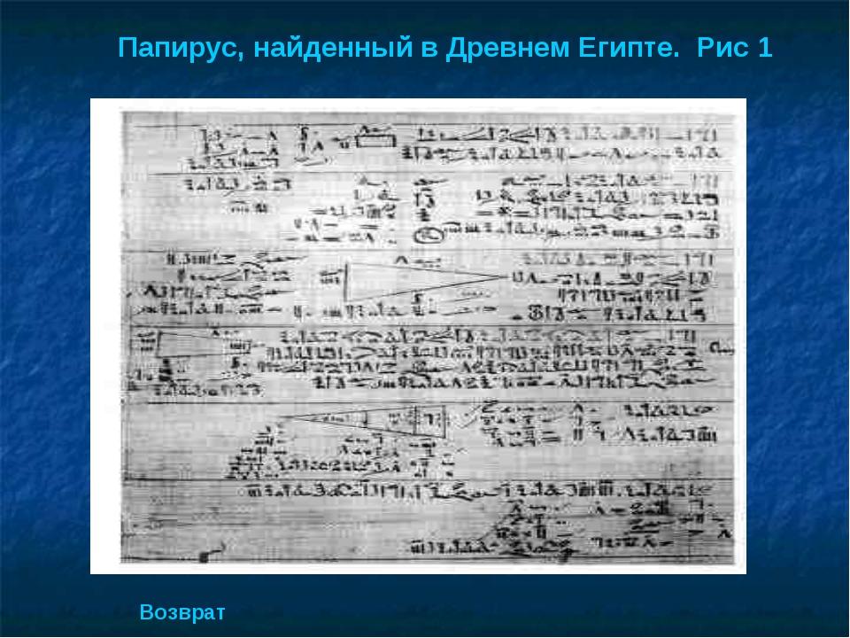 Папирус, найденный в Древнем Египте. Рис 1 Возврат
