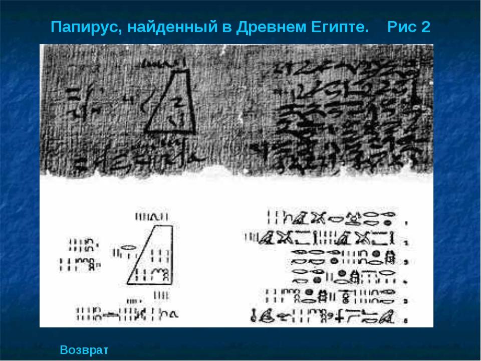 Папирус, найденный в Древнем Египте. Рис 2 Возврат