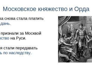 Московское княжество и Орда Москва снова стала платить Орде дань. Ханы призна