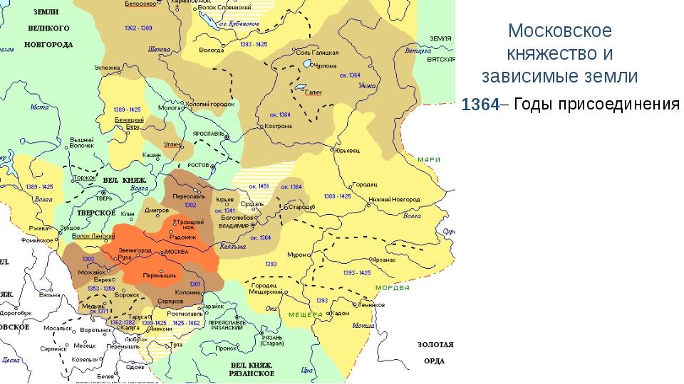 Московское княжество и зависимые земли 1364  Годы присоединения