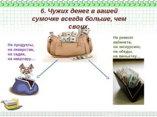 6. Чужих денег в вашей сумочке всегда больше, чем своих. На продукты, на лека