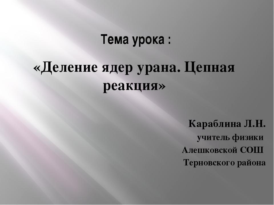 Тема урока : «Деление ядер урана. Цепная реакция» Караблина Л.Н. учитель физи...