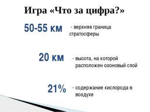 Игра «Что за цифра?» - верхняя граница стратосферы 50-55 км - высота, на кото