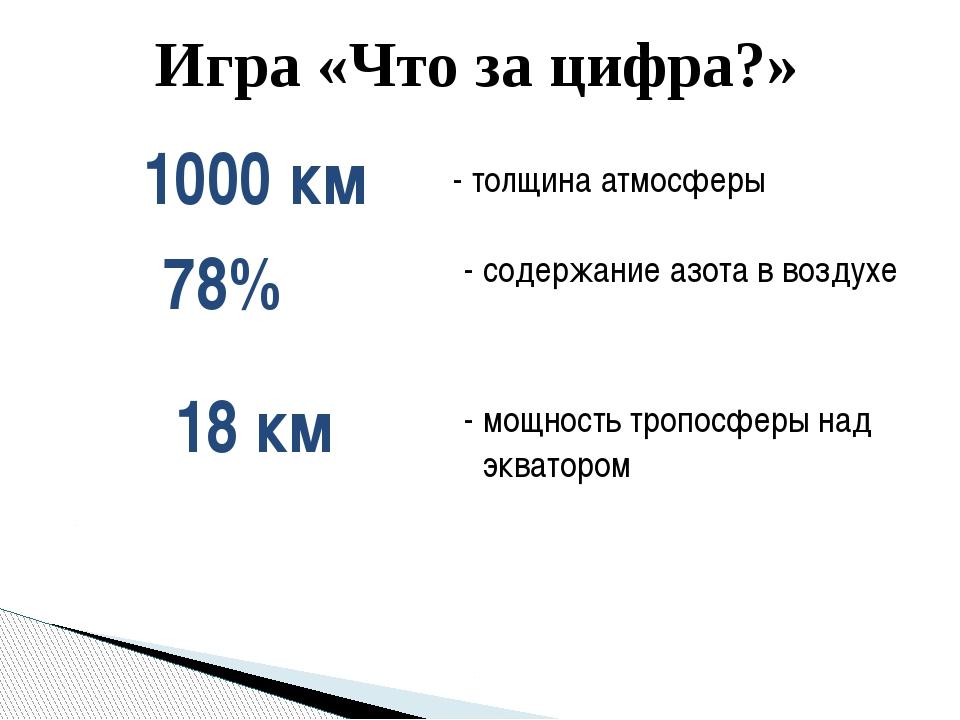 Игра «Что за цифра?» - толщина атмосферы 1000 км 78% - содержание азота в воз...