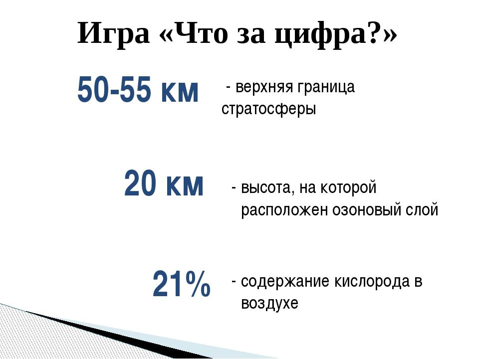 Игра «Что за цифра?» - верхняя граница стратосферы 50-55 км - высота, на кото...