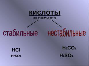 кислоты (по стабильности) H2CO3 H2SO3 H2SO4 HCl