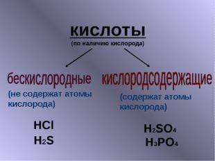 кислоты (по наличию кислорода) HCl H2S H2SO4 H3PO4 (не содержат атомы кислоро