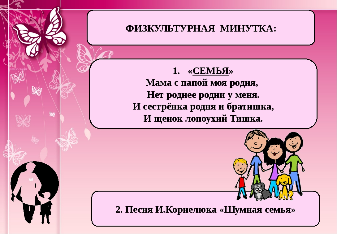 ФИЗКУЛЬТУРНАЯ МИНУТКА: «СЕМЬЯ» Мама с папой моя родня, Нет роднее родни у мен...