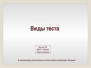 Виды теста Ясская Л.Б. МБОУ СОШ №2 г.Краснотурьинск В презентации дополнитель