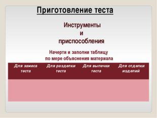 Инструменты и приспособления Начерти и заполни таблицу по мере объяснения ма