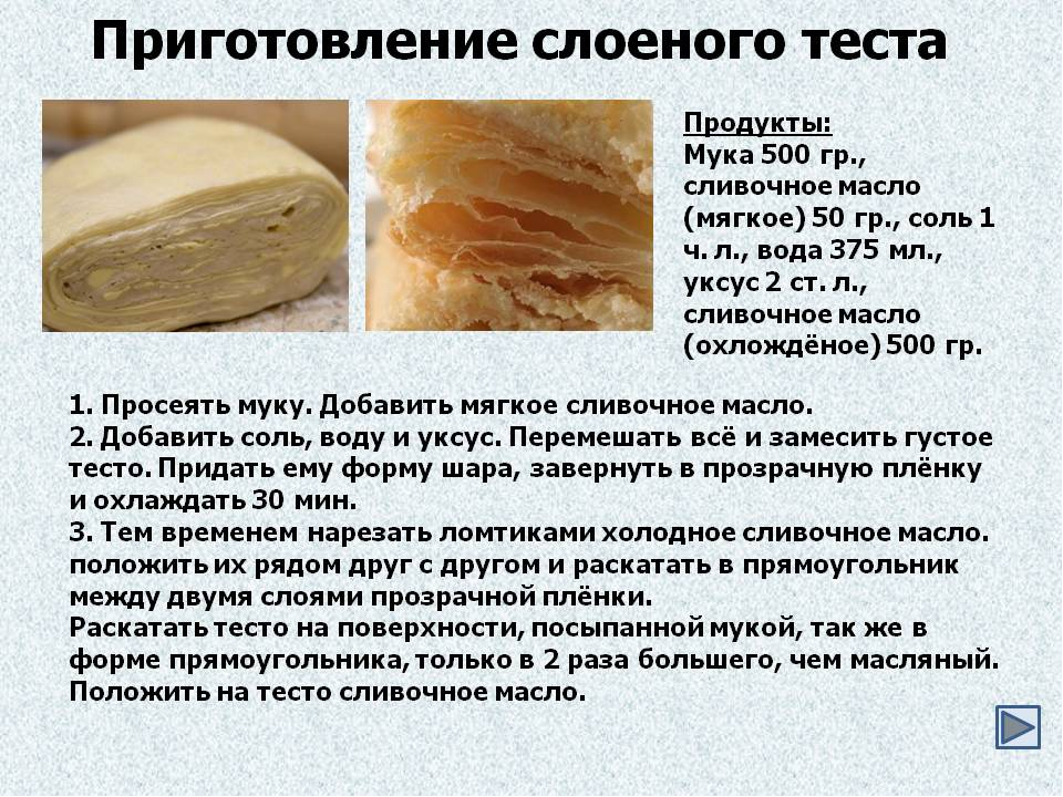 Слоеное дрожжевое тесто слойки рецепт