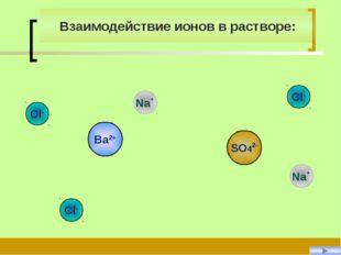 SO42- Na+ Na+ Ba2+ Cl- Cl- Cl- Взаимодействие ионов в растворе: