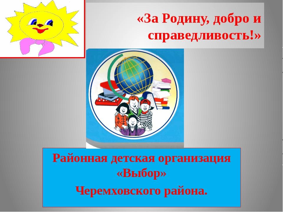 «За Родину, добро и справедливость!» Районная детская организация «Выбор» Чер...