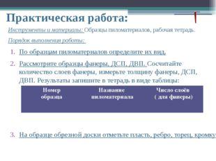 Практическая работа: Инструменты и материалы: Образцы пиломатериалов, рабочая