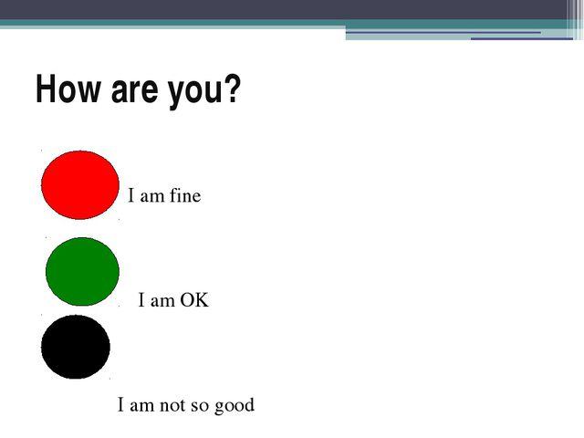 How are you? I am fine I am OK I am not so good