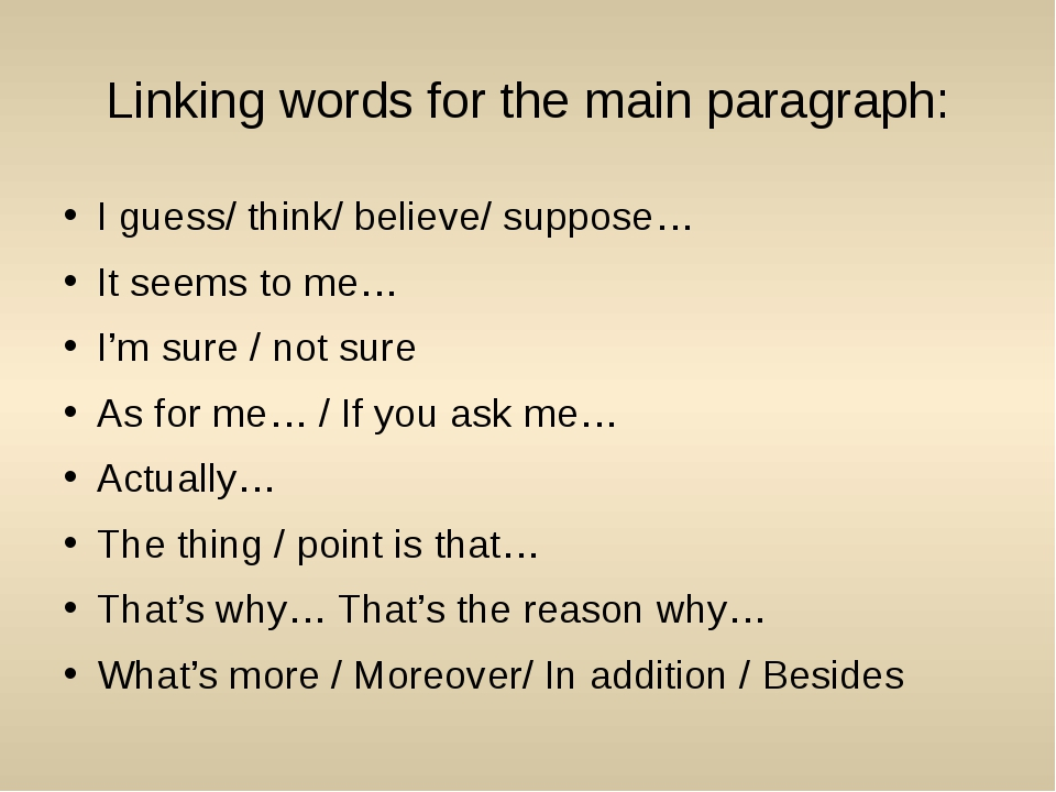 Linking words for the main paragraph: I guess/ think/ believe/ suppose… It se...