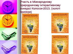 Участь в Міжнародному природничому інтерактивному конкурсі Колосок-2013. (зол