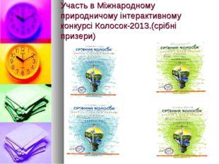 Участь в Міжнародному природничому інтерактивному конкурсі Колосок-2013.(сріб