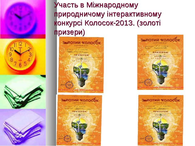 Участь в Міжнародному природничому інтерактивному конкурсі Колосок-2013. (зол...