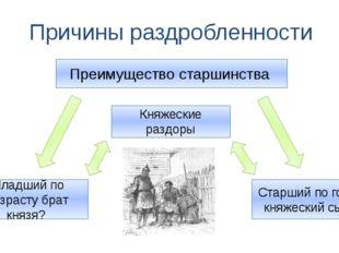 Причины раздробленности Преимущество старшинства Младший по возрасту брат кня