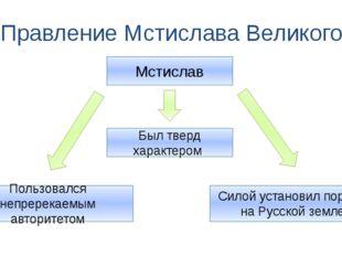 Правление Мстислава Великого Мстислав Был тверд характером Силой установил по